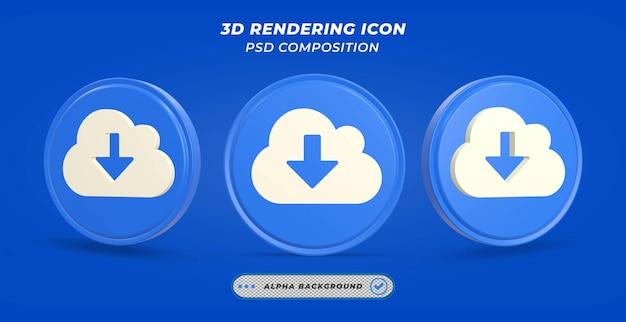 Icône de téléchargement en nuage dans le rendu 3d