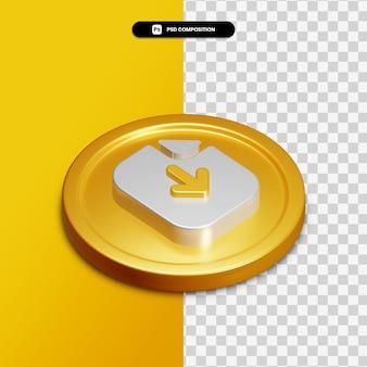 Icône de téléchargement de papier de rendu 3d sur cercle doré isolé