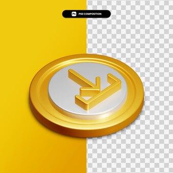 Icône de téléchargement de rendu 3d sur cercle doré isolé