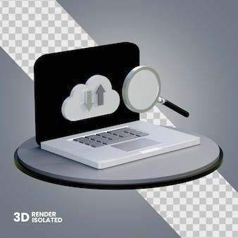 Icône de téléchargement et de téléchargement d'ordinateur 3d isolée