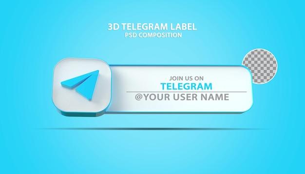 Icône de télégramme de bannière 3d avec zone de texte d'étiquette