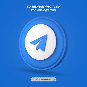 Icône de télégramme dans le rendu 3d