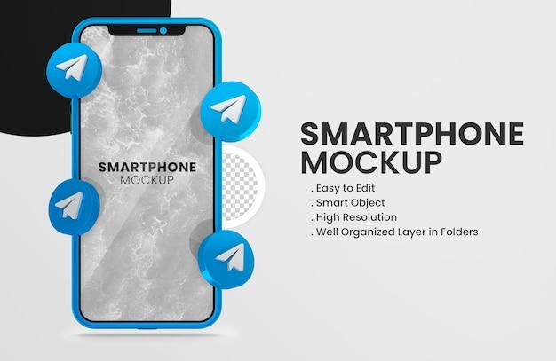 Icône de télégramme de rendu 3d sur une maquette de smartphone bleu