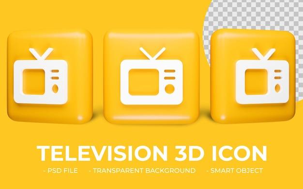 Icône de télévision rendu 3d isolé