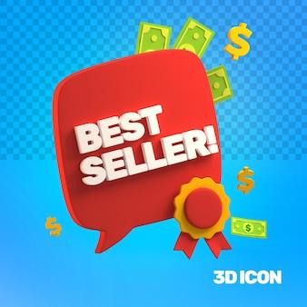 Icône de texte côté meilleur vendeur marketing 3d