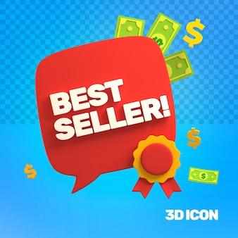Icône de texte du meilleur vendeur de marketing 3d