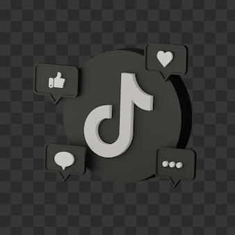 Icône tiktok 3d isolée sur les médias sociaux premium psd