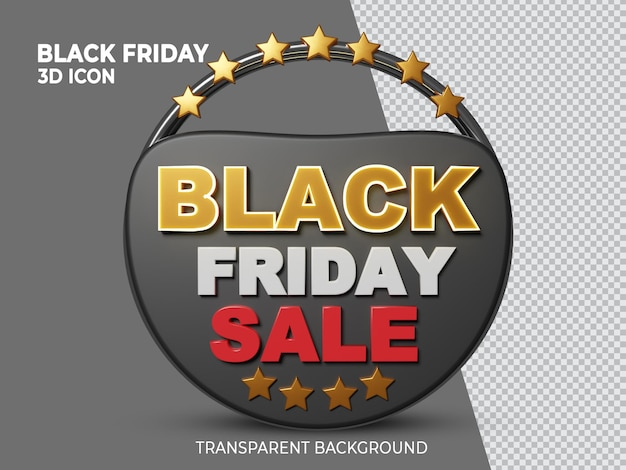 Icône transparente de rendu 3d super vente vendredi noir
