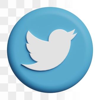 Icône de twitter 3d