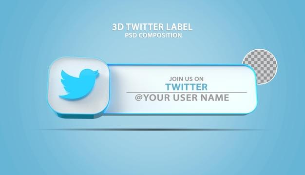 Icône de twitter bannière 3d avec zone de texte d'étiquette