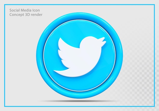 Icône twitter rendu 3d moderne