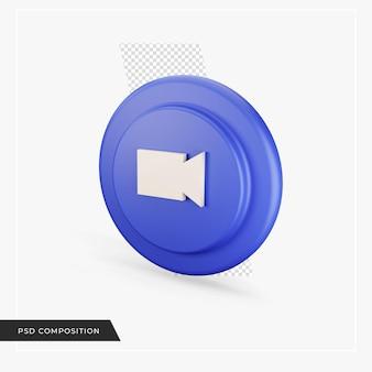 Icône vidéo en rendu 3d isolé