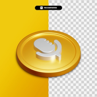 Icône de voix de rendu 3d sur cercle doré isolé
