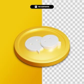 Icône de wechat de rendu 3d sur cercle doré isolé