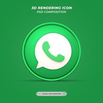 Icône de whatsapp de médias sociaux dans le rendu 3d