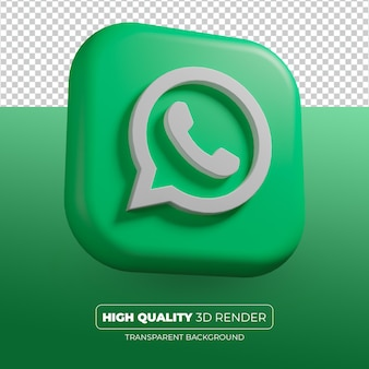 Icône de whatsapp rendu 3d isolé