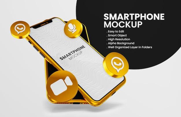 Icône de whatsapp de rendu 3d sur la maquette d'un smartphone en or