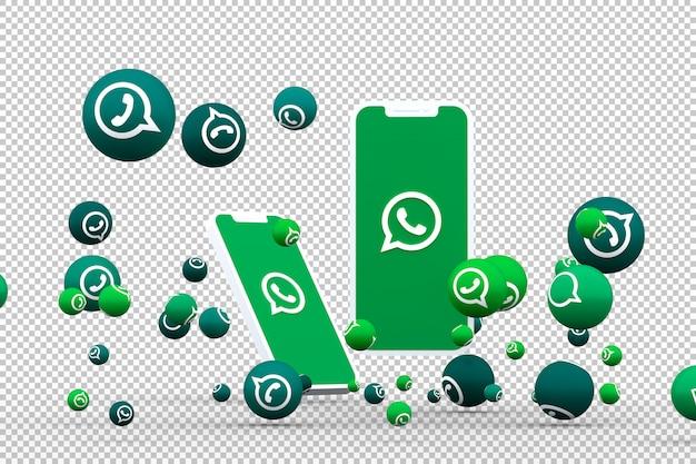 Icône whatsapp sur smartphone à écran ou mobile et appel de réactions whatsapp avec fond isolé