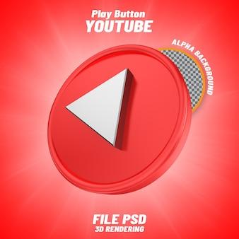 Icône youtube logo isolé 3d design