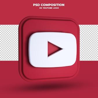 Icône de youtube rendu 3d isolé