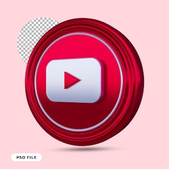 Icône youtube rendu 3d isolé