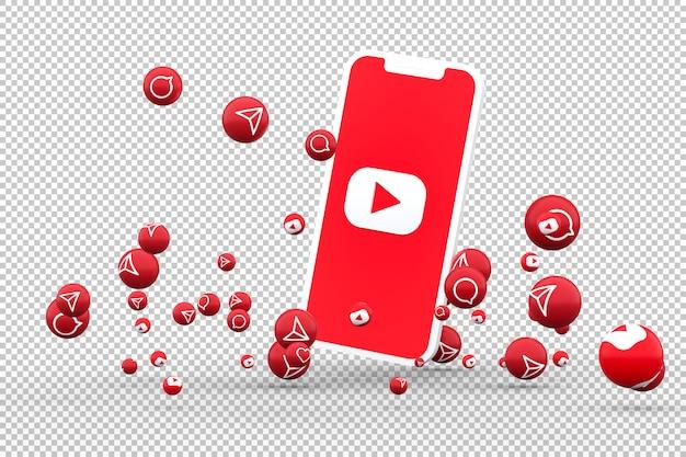 Icône youtube sur les smartphones à écran et réactions youtube
