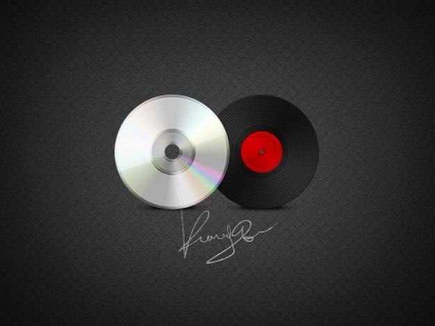 Icônes de disques cd et vinyle