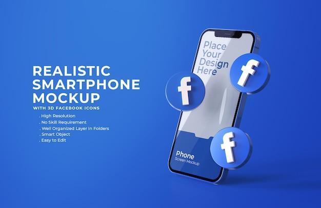 Icônes facebook 3d avec maquette d'écran mobile
