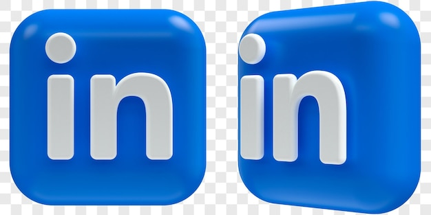 Icônes linkedin 3d dans deux angles devant et trois quarts illustrations isolées