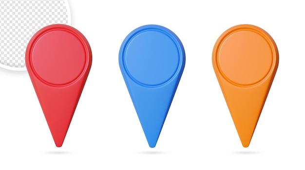 Icônes de localisation des broches marqueurs de carte modernes isolés