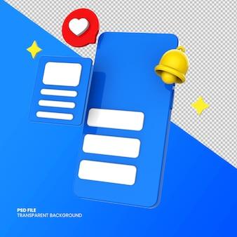 Icônes de médias sociaux 3d avec smartphone