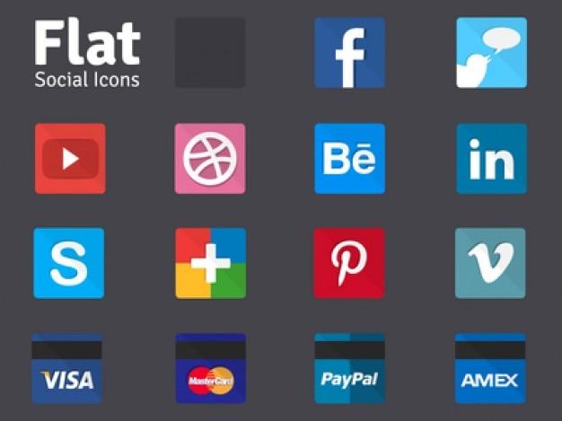Icônes des médias sociaux plates