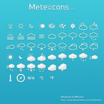 Icônes météo bleus psd