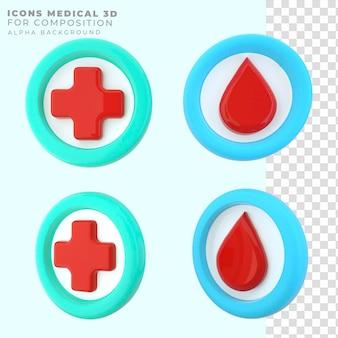 Icônes de rendu 3d médical