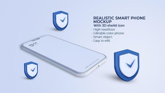 Icônes de sécurité de sécurité 3d avec maquette de téléphone portable