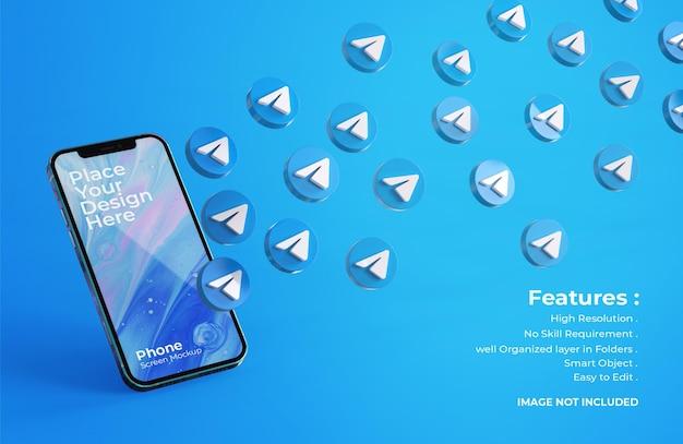 Icônes de télégramme 3d avec maquette d'écran mobile