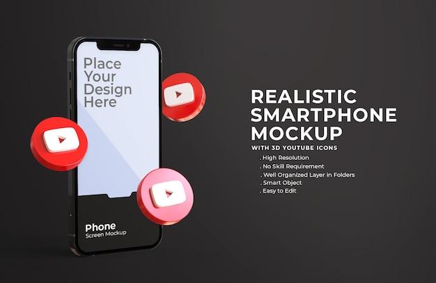 Icônes youtube 3d avec maquette d'écran mobile