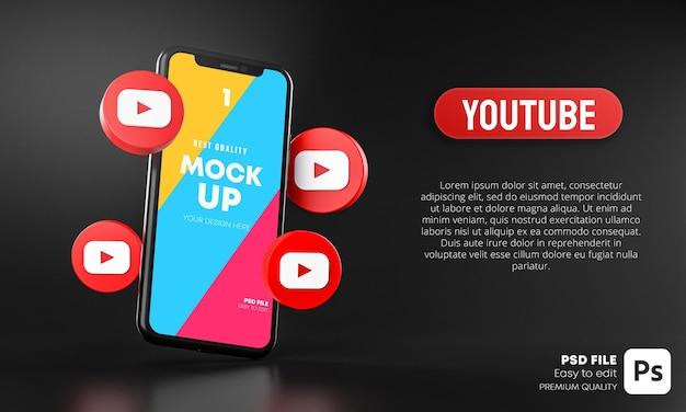Icônes youtube autour de la maquette 3d de l'application pour smartphone