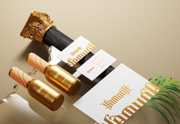 Identité de marque d'entreprise moderne et maquette de papeterie avec effet d'impression en feuille d'or
