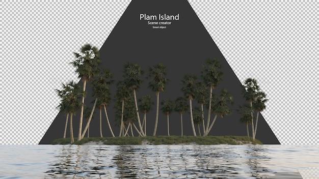 Île de palmier près de la rivière rendu isolé
