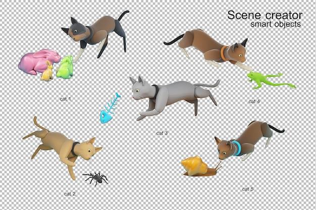 Illustration 3d de l'activité de chat