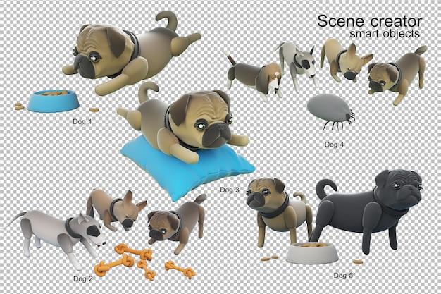 Illustration 3d de l'activité de chien isolée