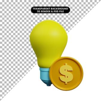 Illustration 3d de l'ampoule de la lampe concept de paiement avec pièce de monnaie