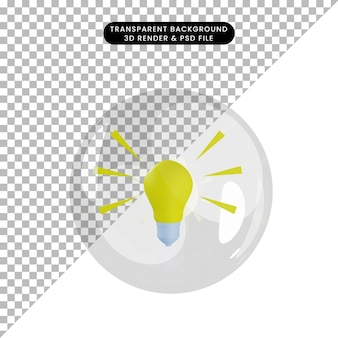Illustration 3d de l'ampoule de l'objet à l'intérieur des bulles