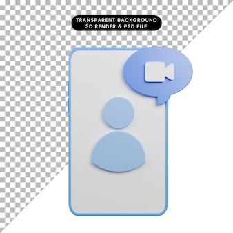 Illustration 3d de l'appel vidéo faq d'aide sur smartphone