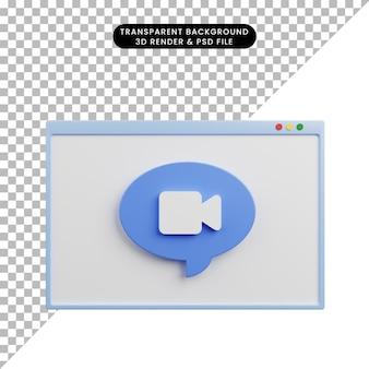 Illustration 3d de l'appel vidéo faq d'aide