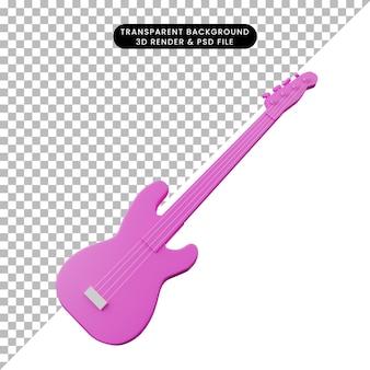 Illustration 3d de la basse d'instrument de musique d'objet simple