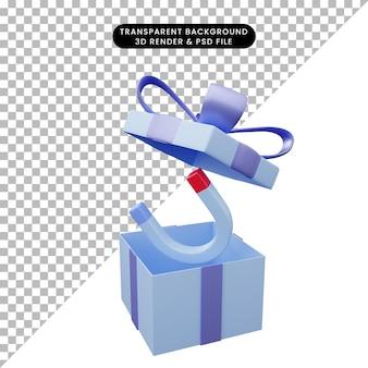 Illustration 3d d'une boîte-cadeau ouverte avec un aimant