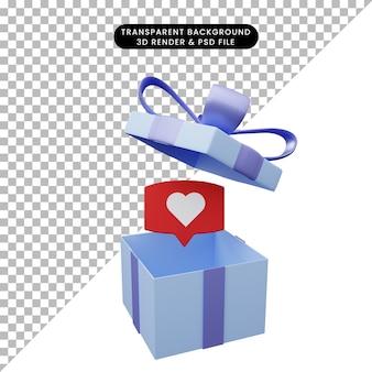Illustration 3d d'une boîte-cadeau ouverte avec amour de bulle de chat