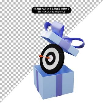 Illustration 3d d'une boîte-cadeau ouverte avec une fléchette sur la cible
